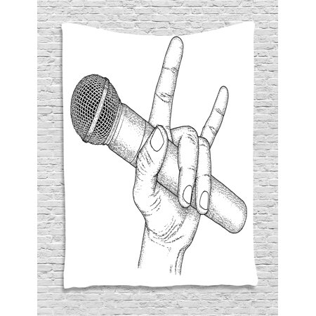 Popstar Party Tapestry, Hand Drawn High Sign for Rock Music Lovers and Microphone Sketch Art, Wall Hanging for Bedroom Living Room Dorm Decor, Black and White, by Ambesonne (Rock N Roll Room Decor)