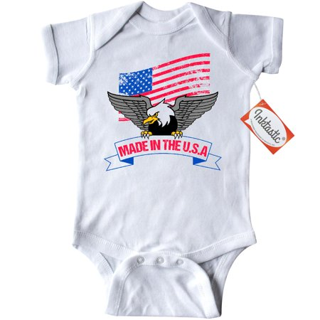 656489d1 Inktastic American Flag Made In The USA With Bald Eagle Infant Creeper Baby  Bodysuit America U.s.a. United States Red White And Blue Grunge Gift ...