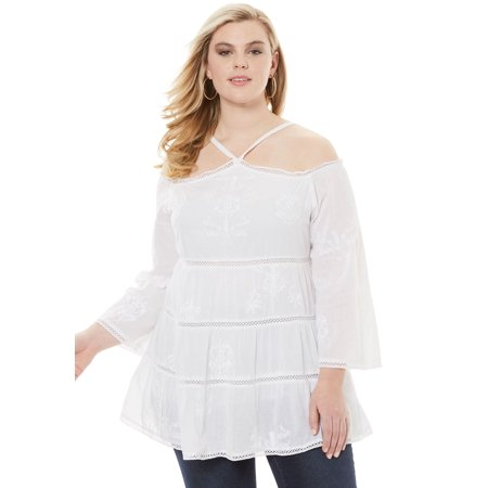 840375db996 Roamans - Plus Size Cold Shoulder Embroidered Tunic - Walmart.com