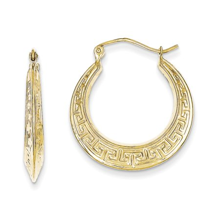 10k Yellow Gold Polished Hollow Greek Key Hoop Earrings