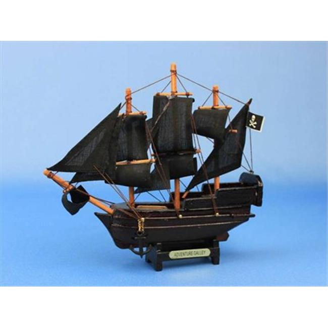 Handcrafted Model Ships Adventure Galley-7 Captain Kidds Adventure Galley 7 in. Decorative Model Pirate Ships
