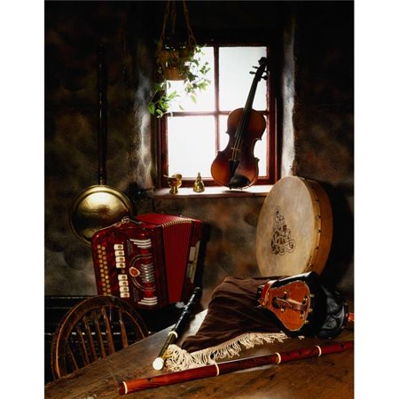 Posterazzi DPI1812283 Traditional Musical Instruments in Old Cottage Ireland Poster Print by The Irish Image Collection, 13 x 17 Musical Instruments Poster Set