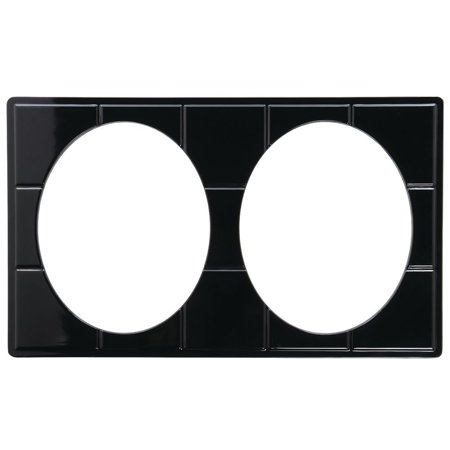 Food Bar Tile Tray Full Size Black Melamine With Oval Baker Cut-Outs - 21