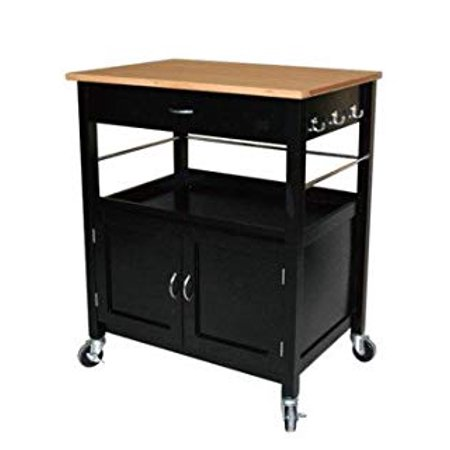 eHemco Kitchen Island Cart Natural Butcher Block Bamboo Top with Black Base