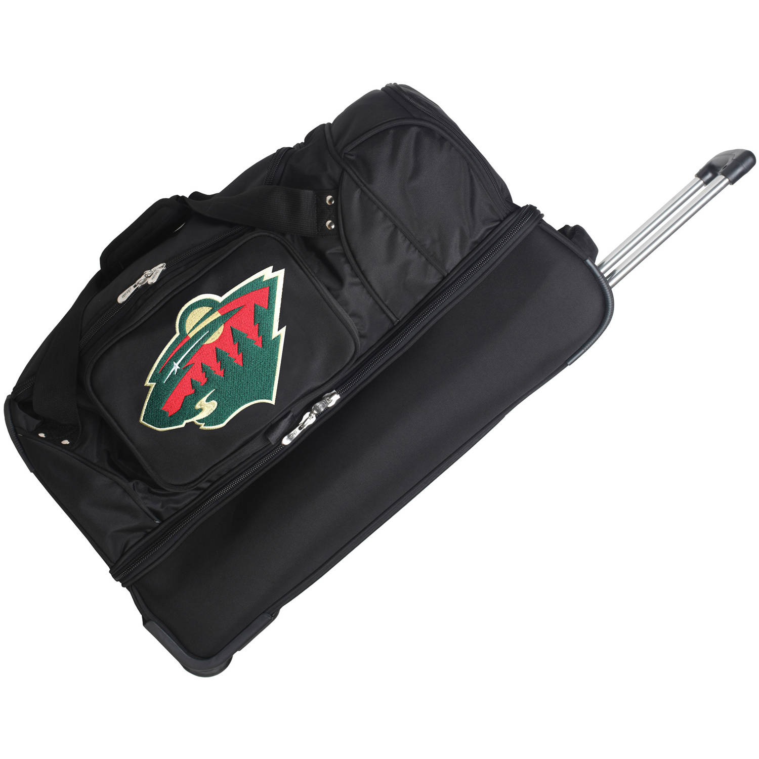 "Minnesota Wild 27"" 2-Wheel Rolling Drop Bottom Duffel Bag - Black - No Size"