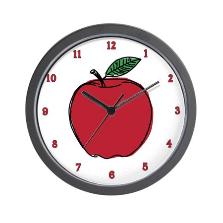 "CafePress - Red Apple Fruit - Unique Decorative 10"" Wall Clock"