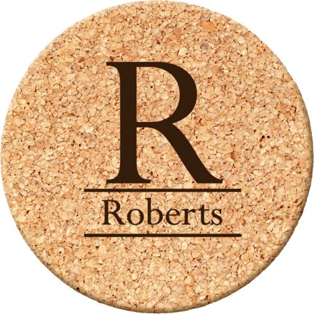 (Personalized Initial Round Cork Coasters)