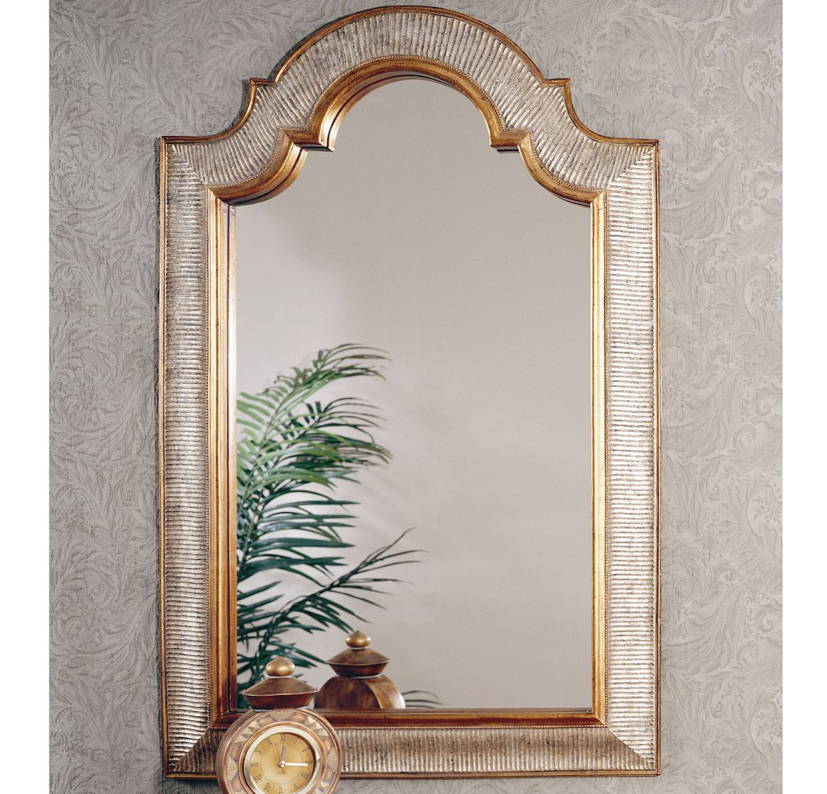 Bassett Old World Excelsior Wall Mirror in Silver and Gold Leaf