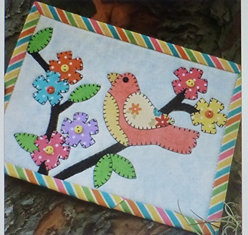 Birdies Delight Mug Rug Pre-cut Applique Kit, Sewing Kit , Sewing Quilt Kit