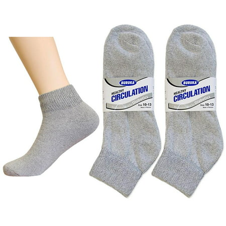 6 Pair Diabetic Ankle Circulatory Socks Health Support Men Loose Fit Grey 10 13