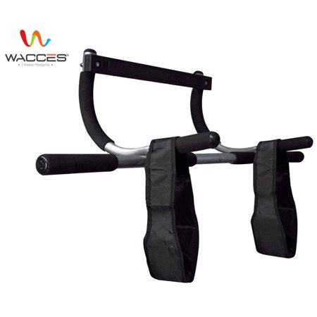 Wacces Doorway Chin-Up & Sit-Up Bar AB Workout Gym + AB Strap (Iron Gym Pull Up Bar Ab Straps)