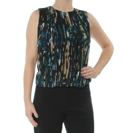CALVIN KLEIN Womens Teal Printed Roadmap Printed Sleeveless Jewel Neck Top Size XS