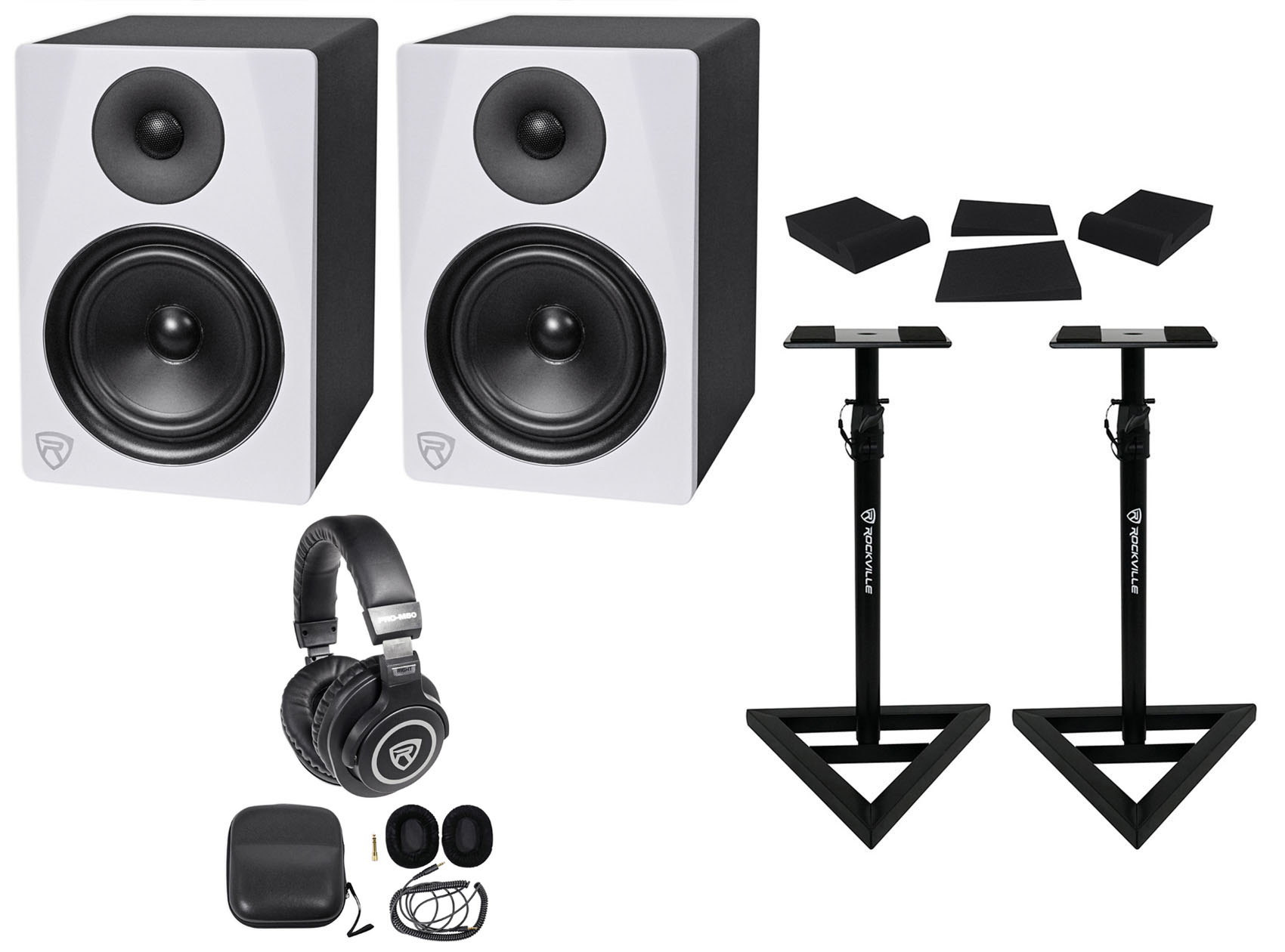 "2) Rockville DPM6W 6.5"" 420w Dual Powered Studio Monitors+Stands+Pads+Headphones by ROCKVILLE"