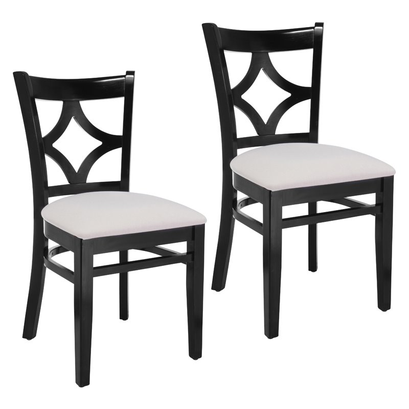 Curtain Back Side Chair in Black (Set of 2)