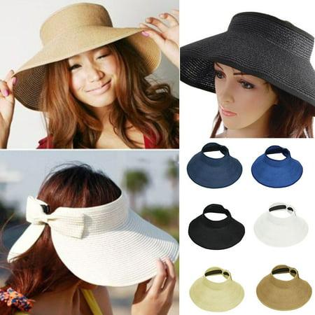 White Washington Hat - Ladies Women Summer Sun Beach Folding Roll Up Wide Brim Straw Visor Hat Cap?Beige?