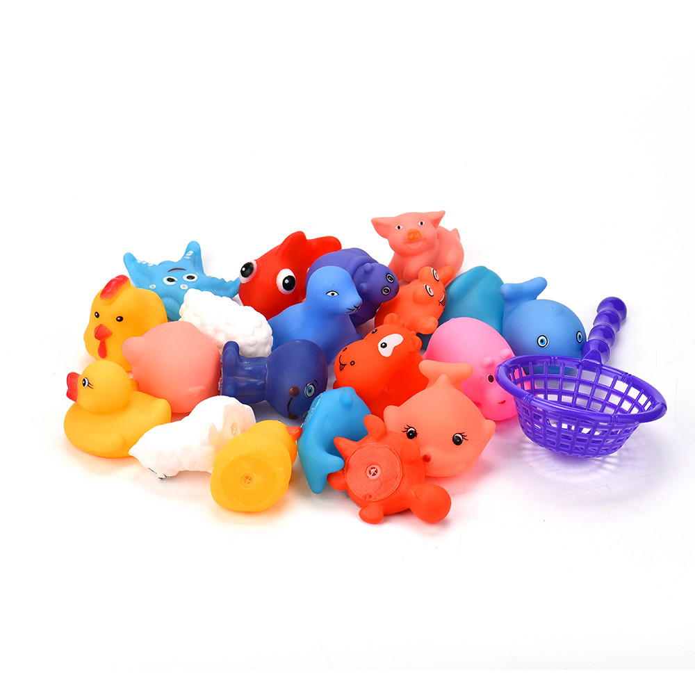 Mosunx One Dozen 20pcs Rubber Animals With Sound Baby Shower Party Favors Toy