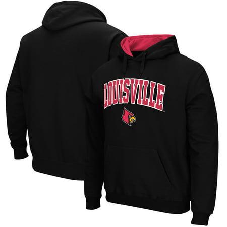 Louisville Cardinals Stadium Athletic Arch & Logo Tackle Twill Pullover Hoodie - Black Black Tackle Twill Hoody Sweatshirt