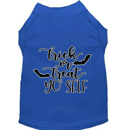 Trick Or Treat Yo' Self Screen Print Dog Shirt Blue Sm](Yo Dog)