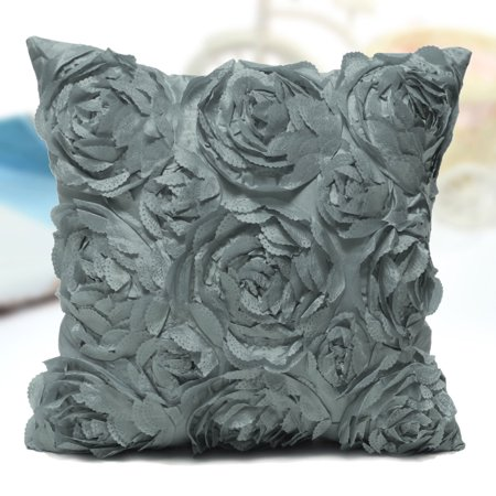 Satin Throw Pillow - Pillow Cushion Cover Case Pillowcase Satin Rose Flower Floral Throw with Zipper for Couch Sofa Home Bedroom Bed 16.6x16.6 inch