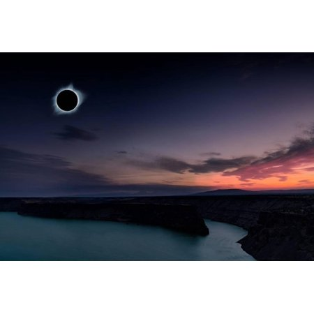 2018 total solar eclipse in Madras, Oregon over the Palisades State Park in path of totality Print Wall Art By David