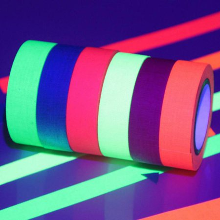 MAXSUN UV Fluorescent Cloth Tape Glow in The Dark Warning Conspicuity Tape Film Sticker ()