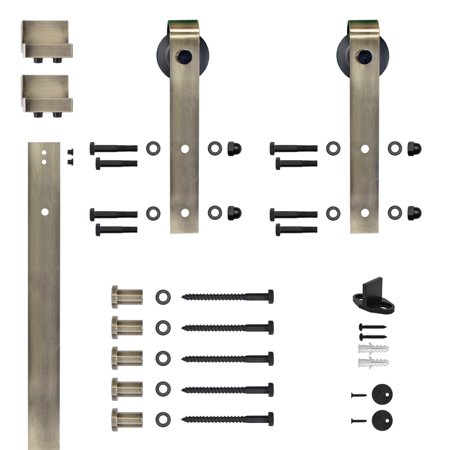 - 6.6 Ft. Soft Close Hook Strap Antique Brass Rolling Barn Door Hardware Kit with 2-3/4 in. Wheel