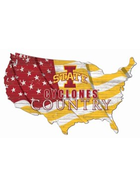 Iowa State Cyclones USA Flag Cutout Sign
