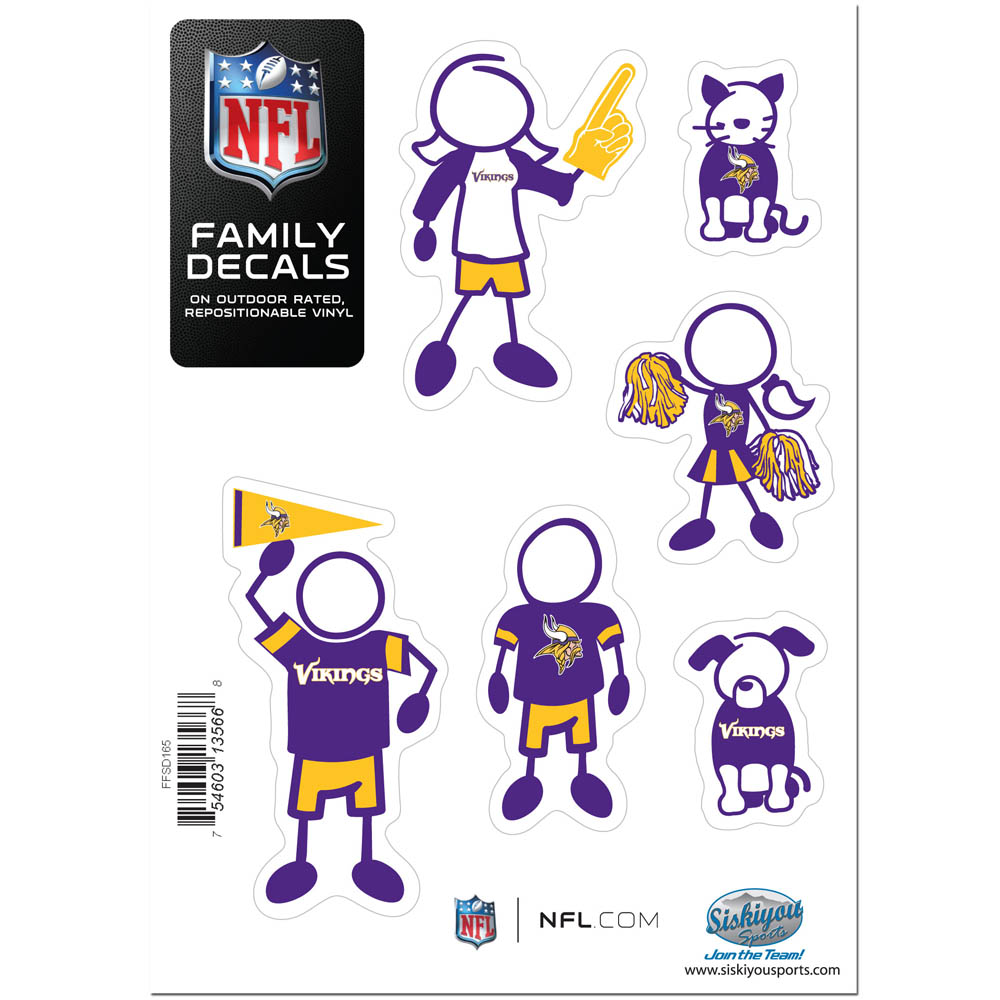 Minnesota Vikings Official NFL Small Family Decal Set by Siskiyou 135668