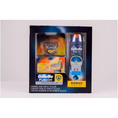 Gillette Fusion ProShield Regimen Pack, Contains 1 Razor, 3 Cartridges and 1 Shave Gel (Gel Cartridge)