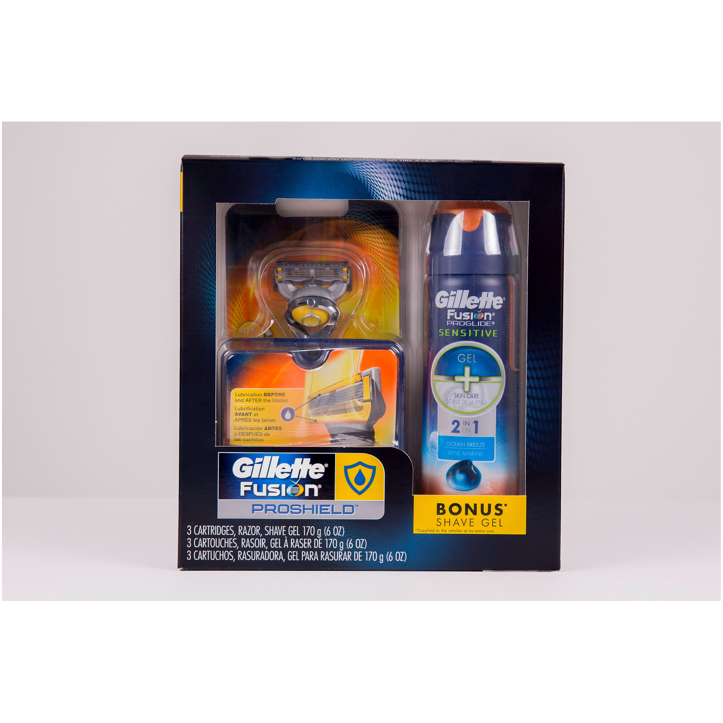 Gillette Fusion ProShield Regimen Pack, Contains 1 Razor, 3 Cartridges and 1 Shave Gel