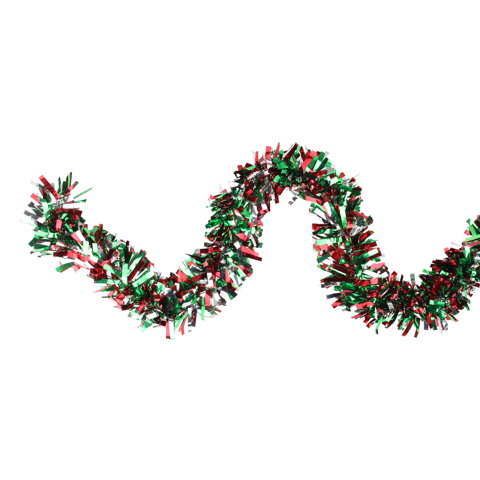"Northlight 12' x 4"" Unlit Green/Red Wide Cut Shiny Tinsel Christmas Garland"