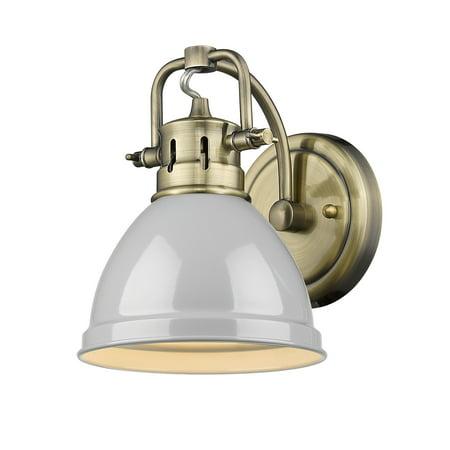 Duncan 1 Light Bath Vanity in Aged Brass with a Gray Shade 1 Light Vanity Lighting