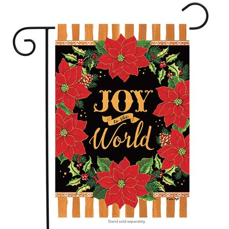 Joy to the World Floral Christmas Garden Flag Poinsettias 12.5