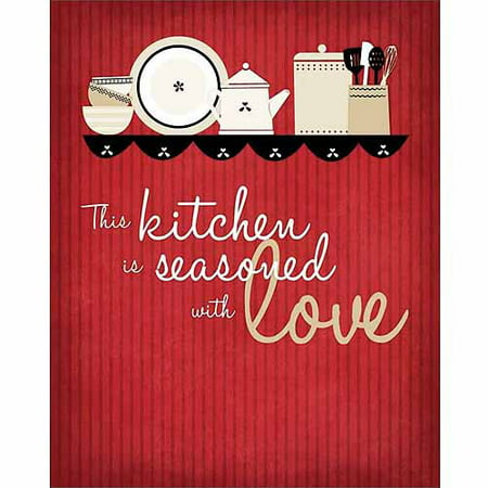 Seasoned Love Vector Dish Ilration Stripe Inspirational Kitchen Typography Red Tan Canvas Art By Pied Piper Creative