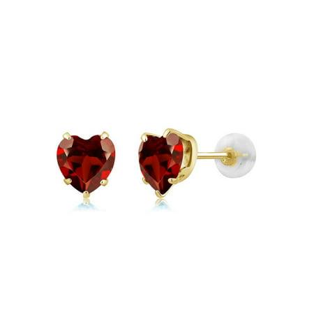 1.80 Ct Heart Shape 6mm Red Garnet 10K Yellow Gold Stud