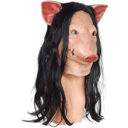 Saw Billy Mask (Trick or Treat Studios Blood Pig w Hair Official SAW Full Head Mask,)