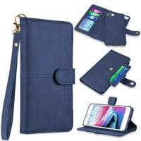 Napa Collection Luxury Leather Wallet with Magnetic Detachable Case for iPhone 8 Plus / 7 Plus / 6S Plus / 6 Plus - Blue
