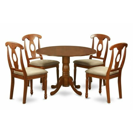 5PC Kitchen Round Table with 2 Drop Leaves and 4 Chairs with padded Seat ()