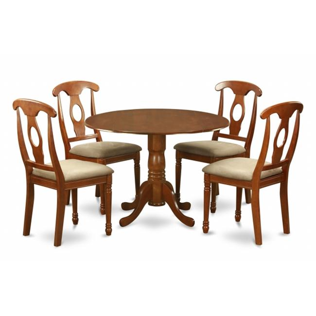 East West Furniture DLNA5-SBR-C 5PC Kitchen Round Table with 2 Drop Leaves and 4 Chairs with padded Seat