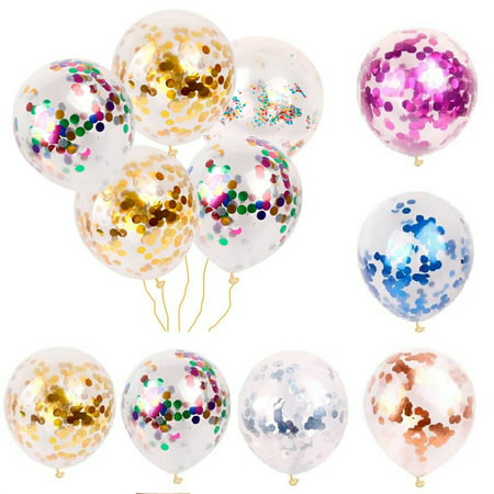 5/10/20pcs Foil Latex Confetti Balloons 12 Inch Clear Gold Sequin Balloon Wedding 1st Birthday Party Baby Shower Decoration (Disney Wedding Decorations)