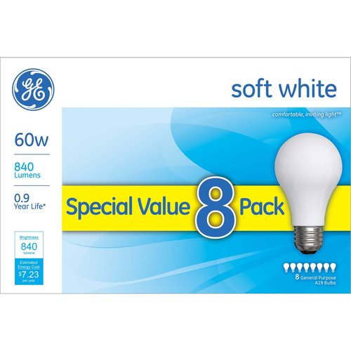 GE soft white 60 watt A19 8-pack