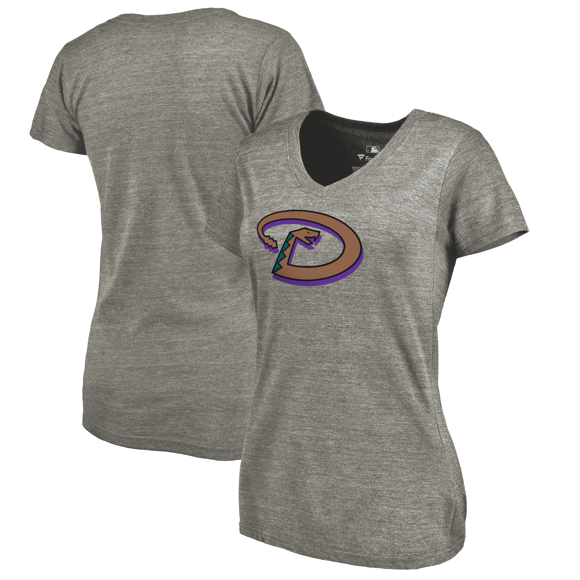 Arizona Diamondbacks Fanatics Branded Women's Cooperstown Collection Forbes Tri-Blend V-Neck T-Shirt - Ash