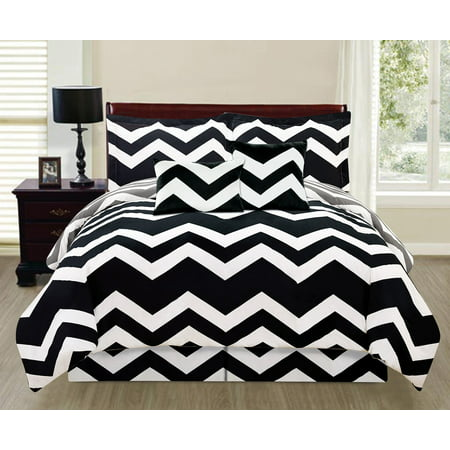 6 piece printed reversible chevron comforter set extra long black full size. Black Bedroom Furniture Sets. Home Design Ideas