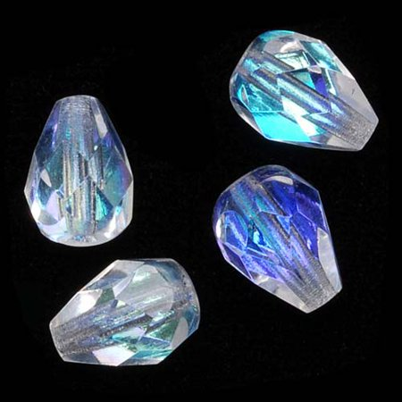 - Czech Fire Polished Glass Beads 8 x 6mm Teardrop Crystal AB (20)