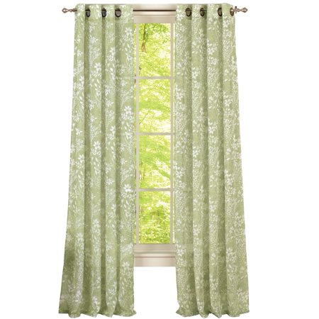 Cascading leaves floral privacy sheer grommet top window for Sheer drapes privacy