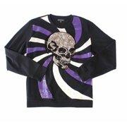 Men's Sweater Black Large Sequin Skull Crewneck Pullover $65 L