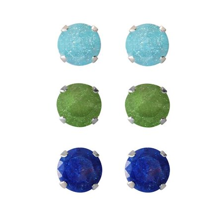 Jewelry Set of 3-pair Sterling Silver 4.25-mm Turquoise Dark Green Bright Blue Ice Cubic Zirconia Stud Earrings
