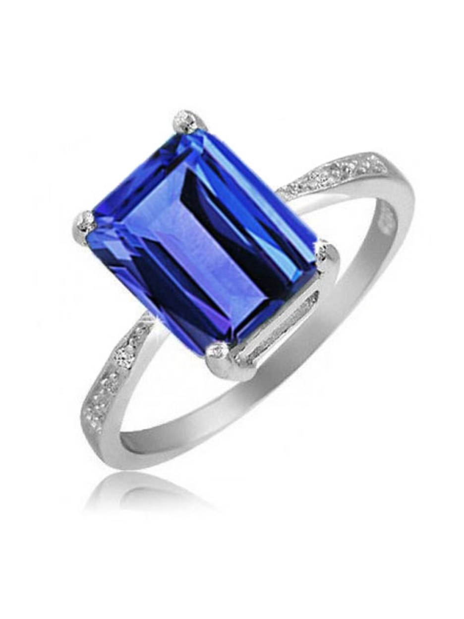 4.00 CTTW Genuine Tanzanite Emerald Cut Ring by
