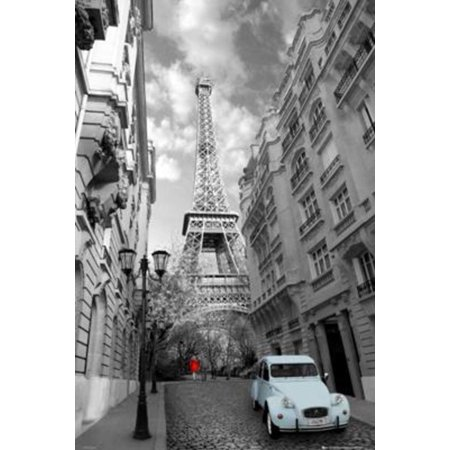 Paris Girl In Red Eiffel Tower Photo Art Print Poster 24X36 Inch