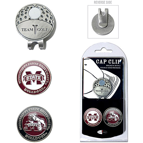 Team Golf NCAA Mississippi State Cap Clip With 2 Golf Ball Markers